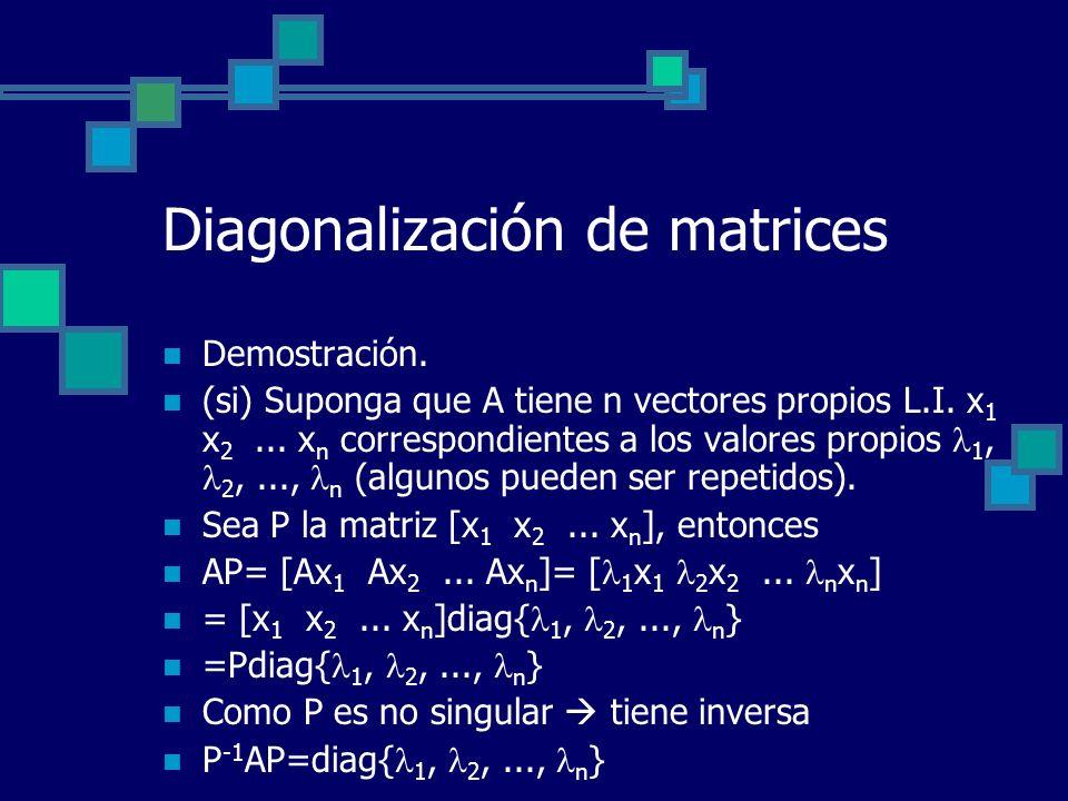 Diagonalización de matrices Demostración. (si) Suponga que A tiene n vectores propios L.I. x 1 x 2... x n correspondientes a los valores propios 1, 2,