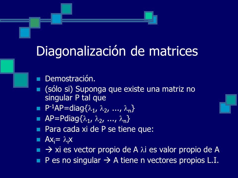 Diagonalización de matrices Demostración. (sólo si) Suponga que existe una matriz no singular P tal que P -1 AP=diag{ 1, 2,..., n } AP=Pdiag{ 1, 2,...