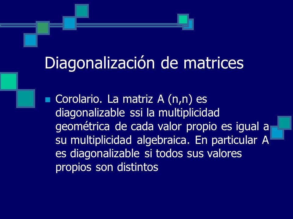 Diagonalización de matrices Corolario. La matriz A (n,n) es diagonalizable ssi la multiplicidad geométrica de cada valor propio es igual a su multipli