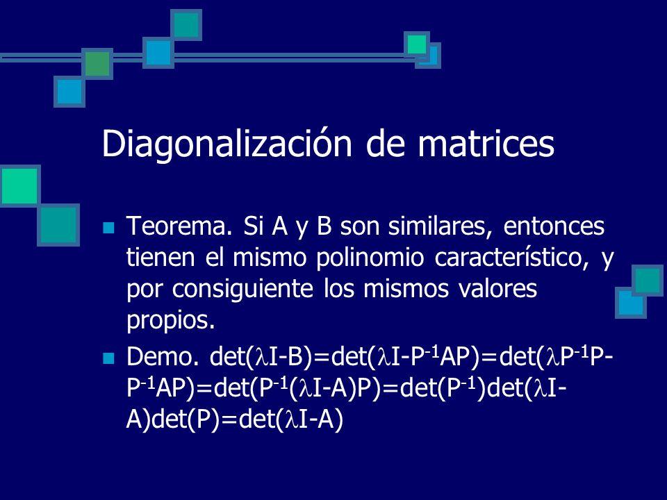 Diagonalización de matrices Teorema. Si A y B son similares, entonces tienen el mismo polinomio característico, y por consiguiente los mismos valores