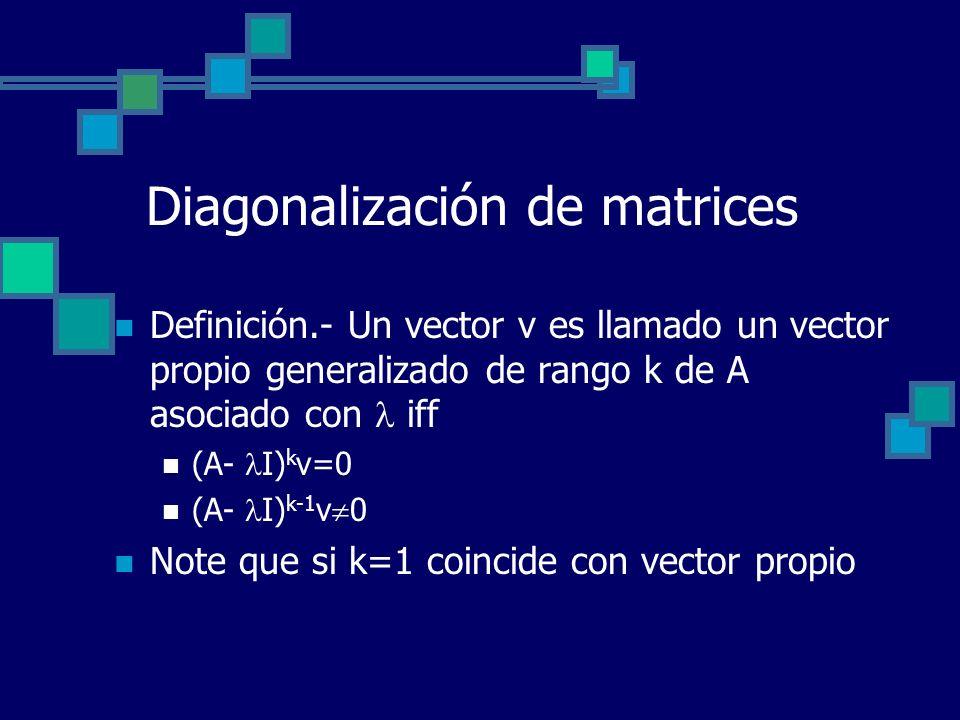 Diagonalización de matrices Definición.- Un vector v es llamado un vector propio generalizado de rango k de A asociado con iff (A- I) k v=0 (A- I) k-1