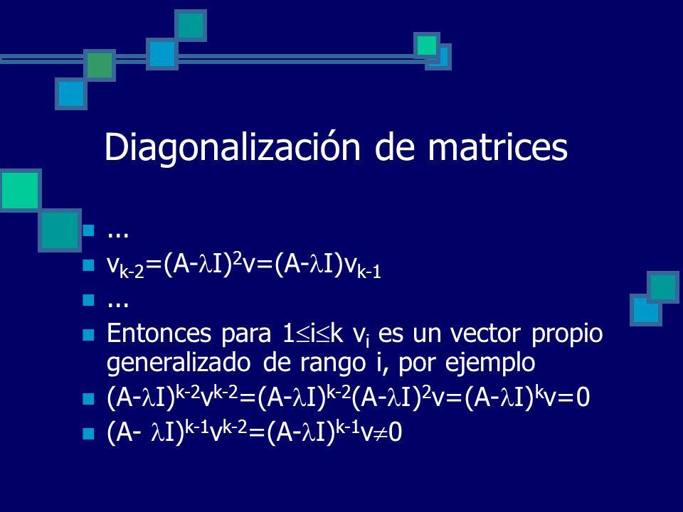 Diagonalización de matrices... v k-2 =(A- I) 2 v=(A- I)v k-1... Entonces para 1 i k v i es un vector propio generalizado de rango i, por ejemplo (A- I