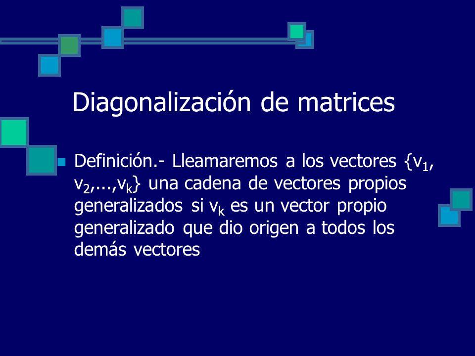 Diagonalización de matrices Definición.- Lleamaremos a los vectores {v 1, v 2,...,v k } una cadena de vectores propios generalizados si v k es un vect