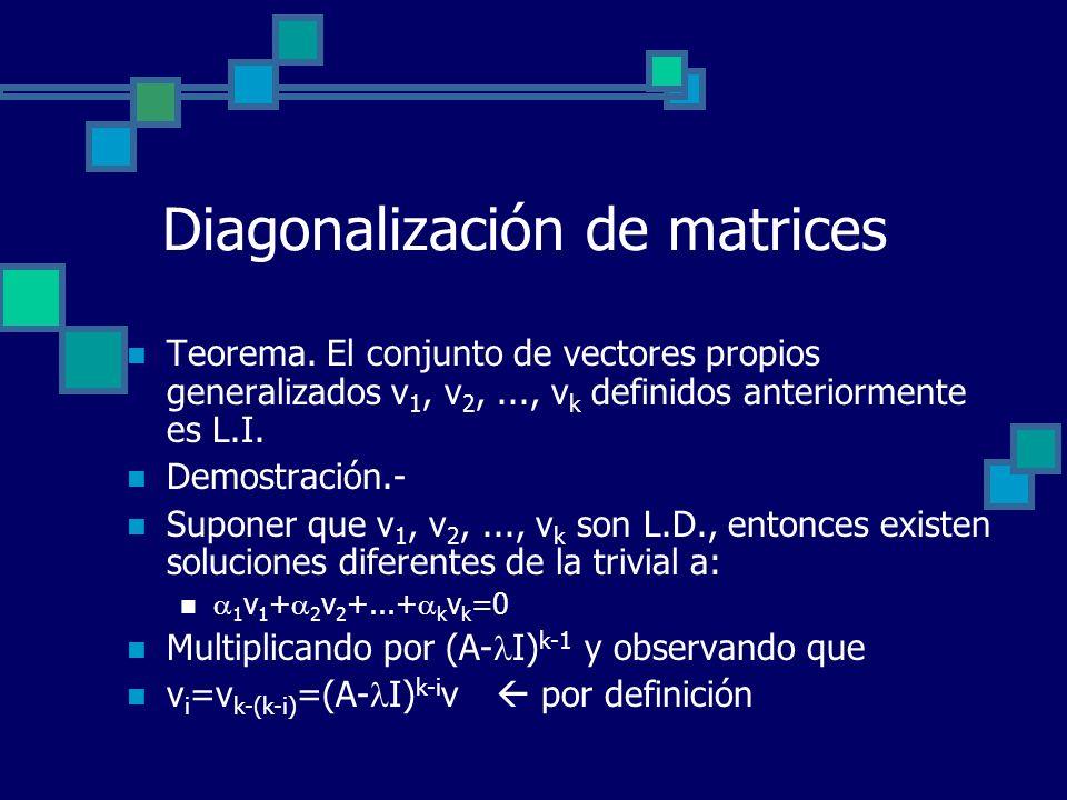 Diagonalización de matrices Teorema. El conjunto de vectores propios generalizados v 1, v 2,..., v k definidos anteriormente es L.I. Demostración.- Su