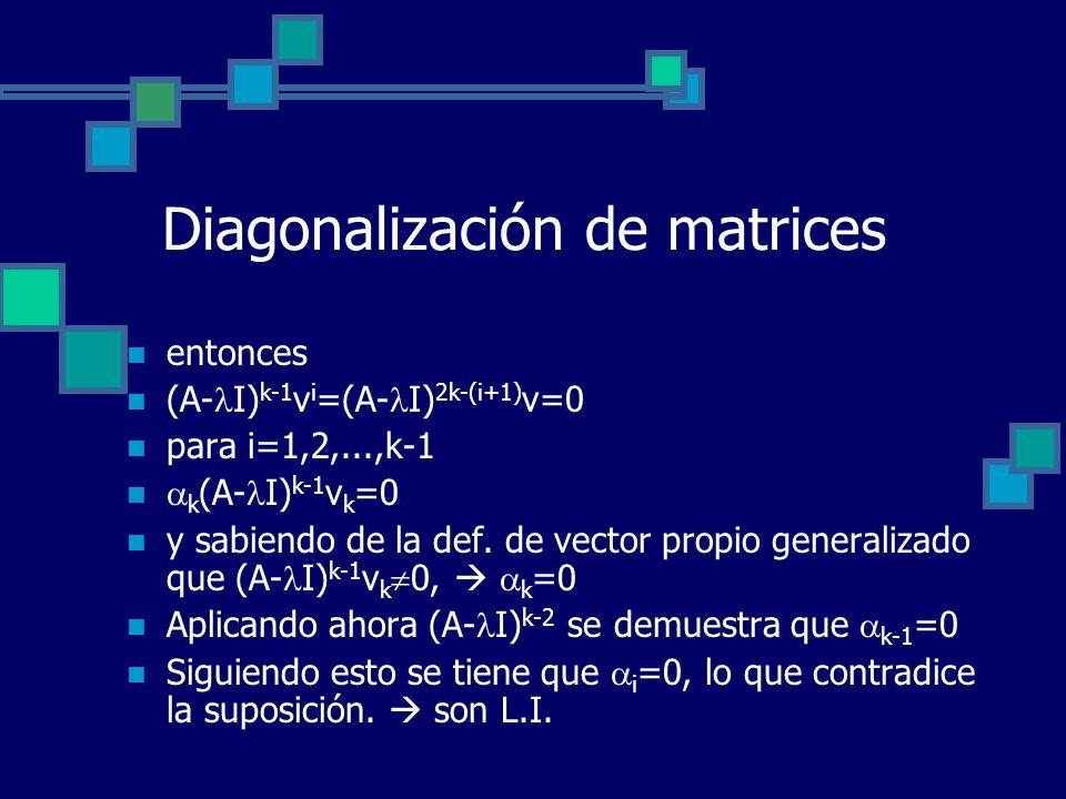 Diagonalización de matrices entonces (A- I) k-1 v i =(A- I) 2k-(i+1) v=0 para i=1,2,...,k-1 k (A- I) k-1 v k =0 y sabiendo de la def. de vector propio