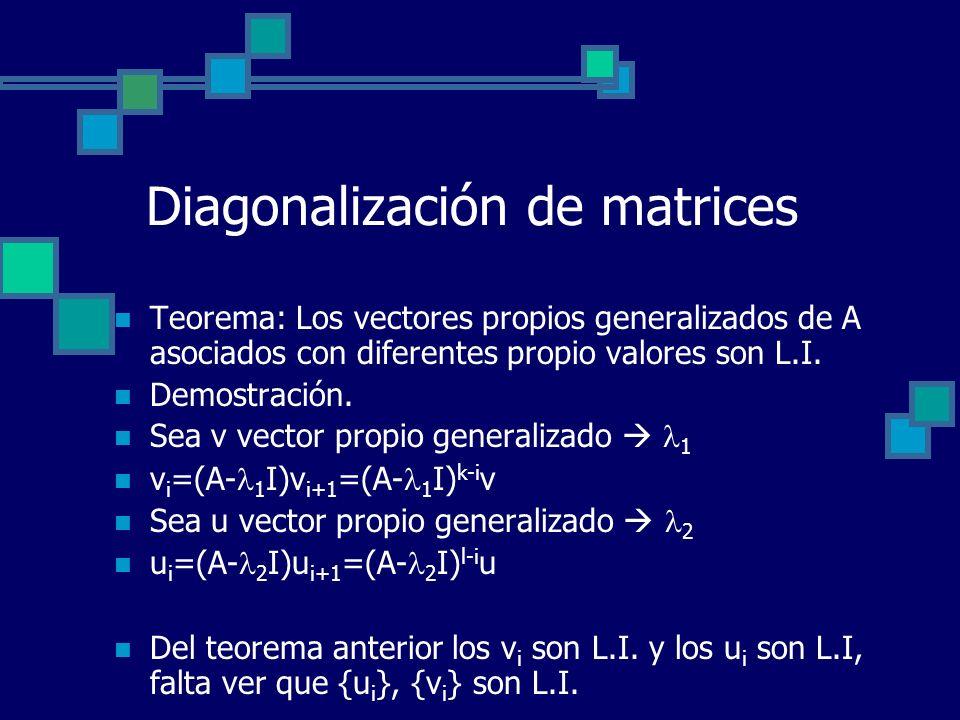 Diagonalización de matrices Teorema: Los vectores propios generalizados de A asociados con diferentes propio valores son L.I. Demostración. Sea v vect