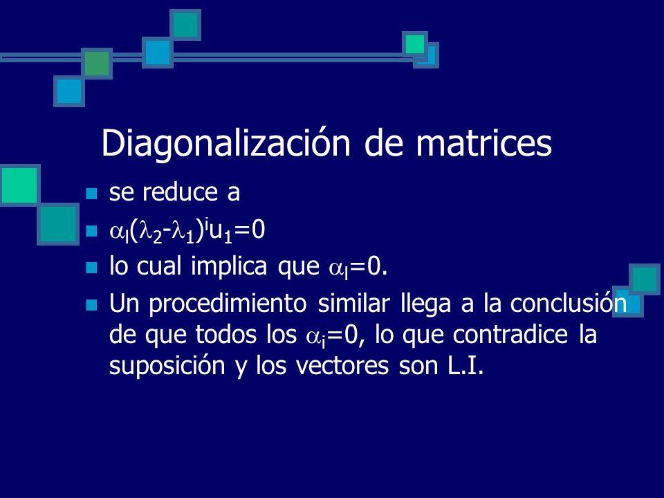 Diagonalización de matrices se reduce a l ( 2 - 1 ) i u 1 =0 lo cual implica que l =0. Un procedimiento similar llega a la conclusión de que todos los