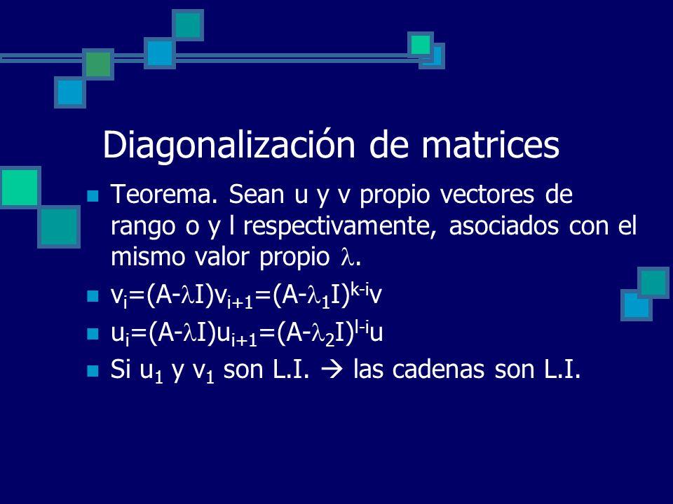 Diagonalización de matrices Teorema. Sean u y v propio vectores de rango o y l respectivamente, asociados con el mismo valor propio. v i =(A- I)v i+1