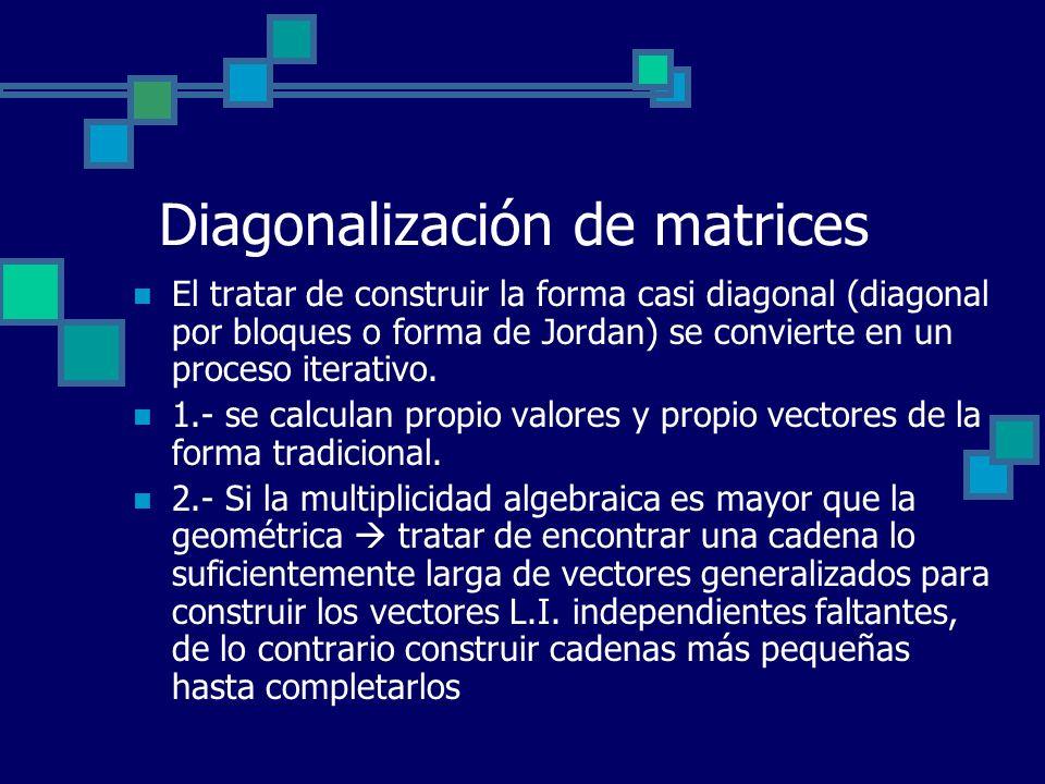 Diagonalización de matrices El tratar de construir la forma casi diagonal (diagonal por bloques o forma de Jordan) se convierte en un proceso iterativ