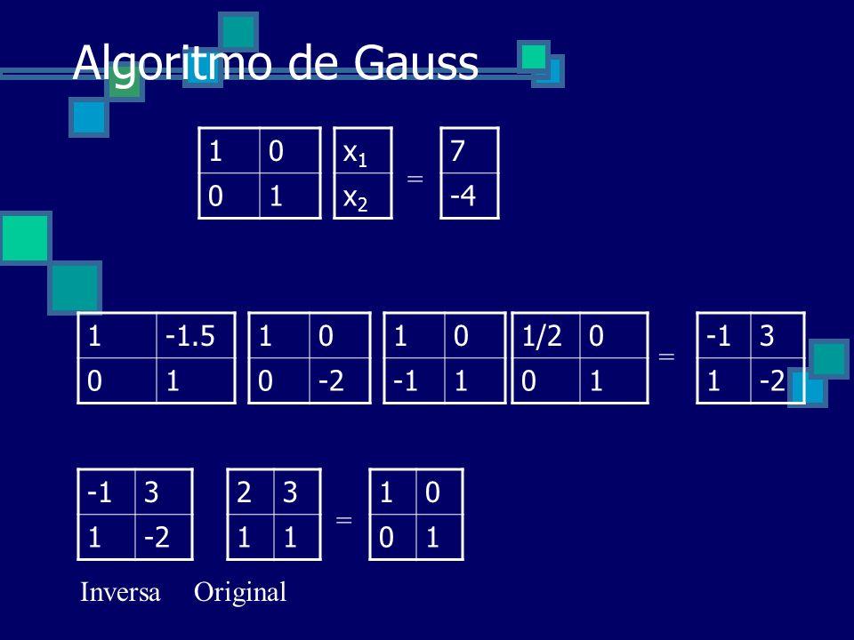 Algoritmo de Gauss 10 01 x1x1 x2x2 = 7 -4 10 1 10 0-2 1-1.5 01 = 3 1-2 23 11 1/20 01 3 1-2 = 10 01 InversaOriginal