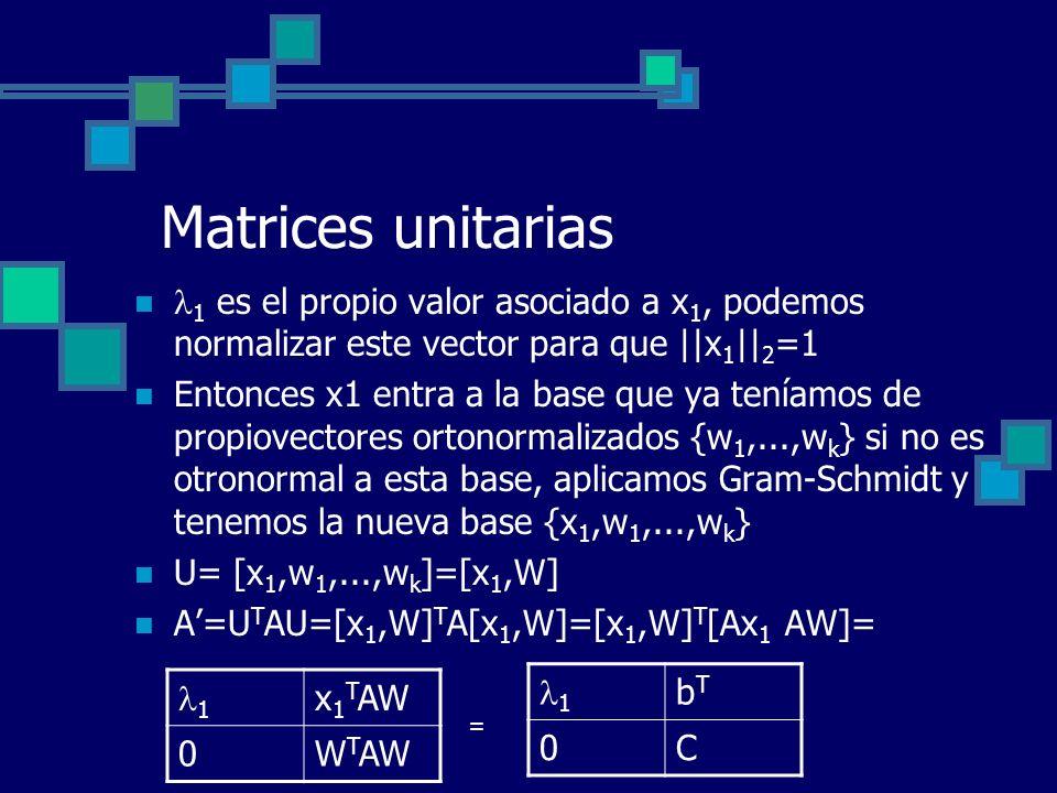 Matrices unitarias 1 es el propio valor asociado a x 1, podemos normalizar este vector para que ||x 1 || 2 =1 Entonces x1 entra a la base que ya tenía