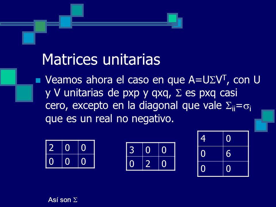 Matrices unitarias Veamos ahora el caso en que A=U V T, con U y V unitarias de pxp y qxq, es pxq casi cero, excepto en la diagonal que vale ii = i que