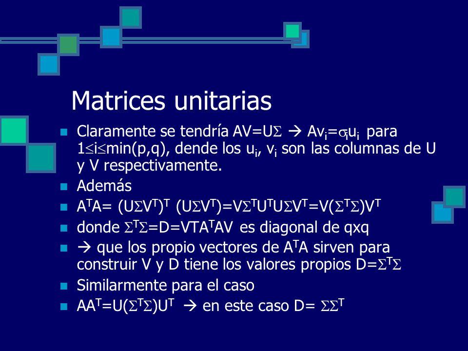 Matrices unitarias Claramente se tendría AV=U Av i = i u i para 1 i min(p,q), dende los u i, v i son las columnas de U y V respectivamente. Además A T