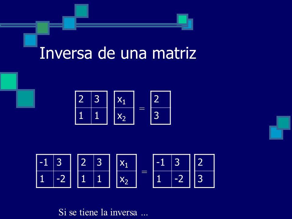 Inversa de una matriz x1x1 x2x2 = 3 1-2 3 1-2 23 11 2 3 x1x1 x2x2 = 23 11 2 3 Si se tiene la inversa...