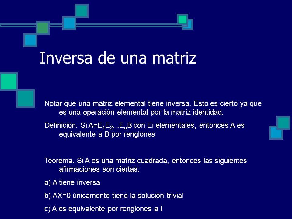 Inversa de una matriz Notar que una matriz elemental tiene inversa. Esto es cierto ya que es una operación elemental por la matriz identidad. Definici