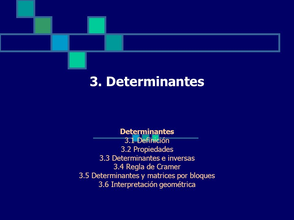 3. Determinantes Determinantes 3.1 Definición 3.2 Propiedades 3.3 Determinantes e inversas 3.4 Regla de Cramer 3.5 Determinantes y matrices por bloque