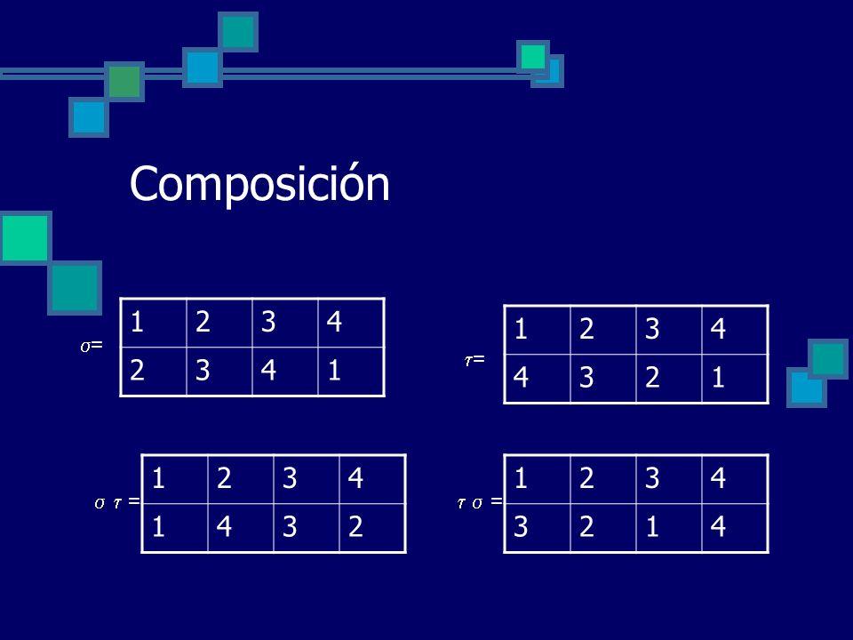 Composición 1234 2341 1234 4321 = = = 1234 1432 = 1234 3214