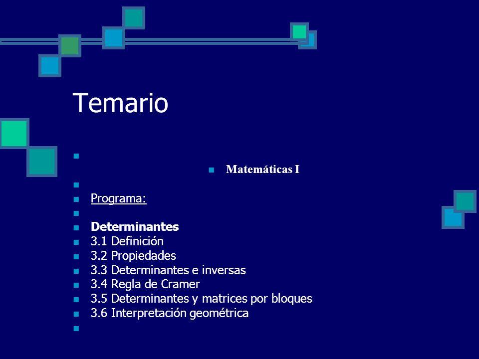 Temario Matemáticas I Programa: Determinantes 3.1 Definición 3.2 Propiedades 3.3 Determinantes e inversas 3.4 Regla de Cramer 3.5 Determinantes y matr