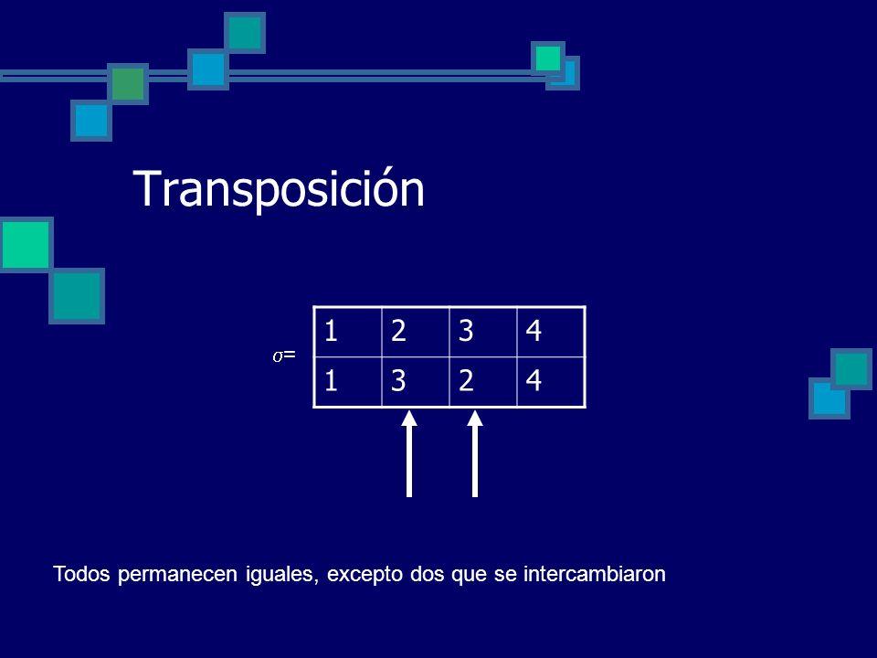 Transposición 1234 1324 = Todos permanecen iguales, excepto dos que se intercambiaron