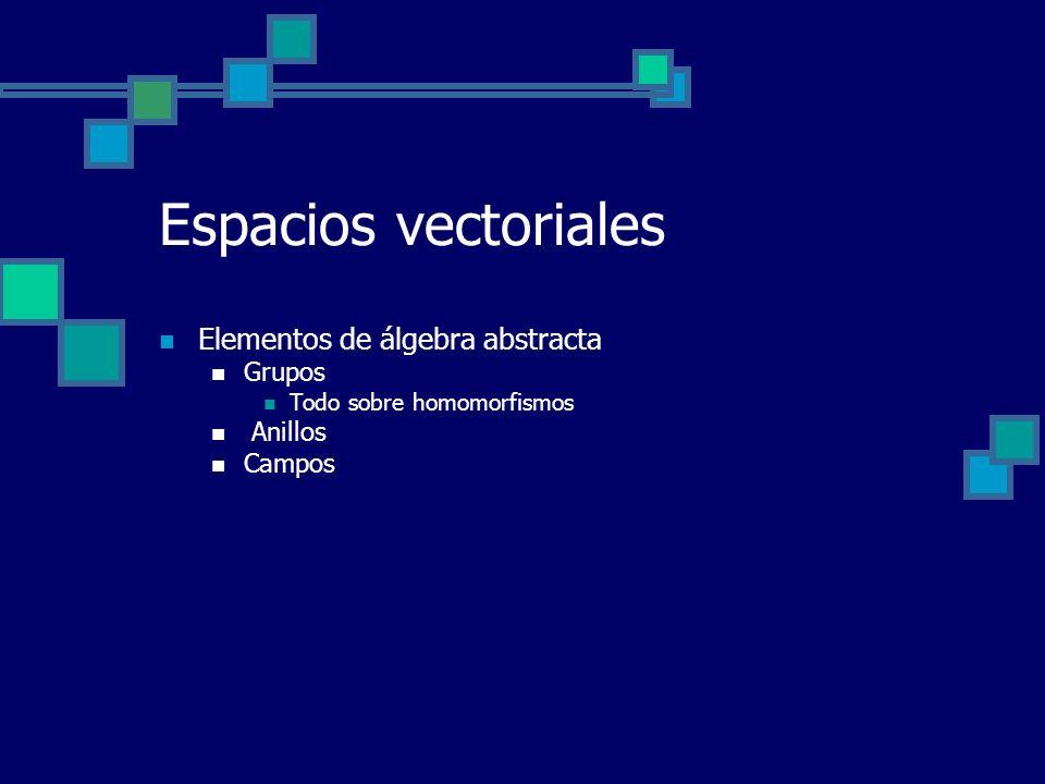 Espacios vectoriales Elementos de álgebra abstracta Grupos Todo sobre homomorfismos Anillos Campos