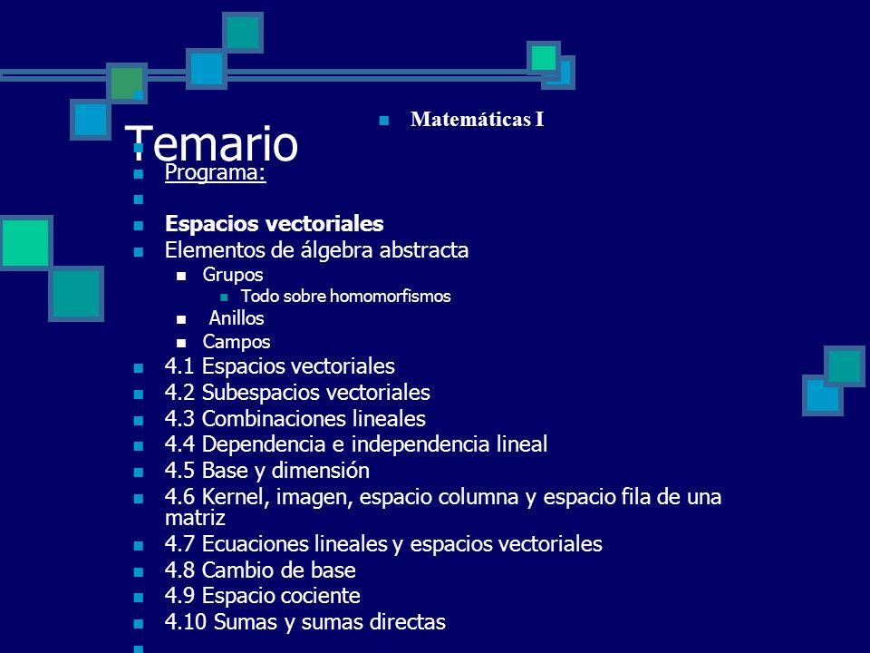 Temario Matemáticas I Programa: Espacios vectoriales Elementos de álgebra abstracta Grupos Todo sobre homomorfismos Anillos Campos 4.1 Espacios vector