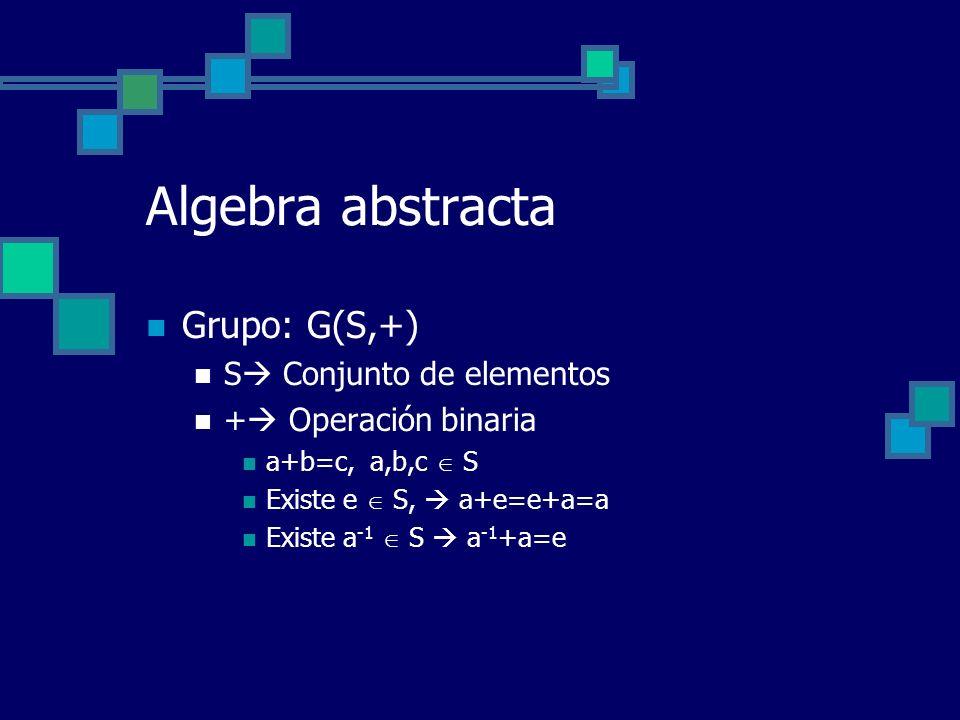 Algebra abstracta Grupo: G(S,+) S Conjunto de elementos + Operación binaria a+b=c, a,b,c S Existe e S, a+e=e+a=a Existe a -1 S a -1 +a=e