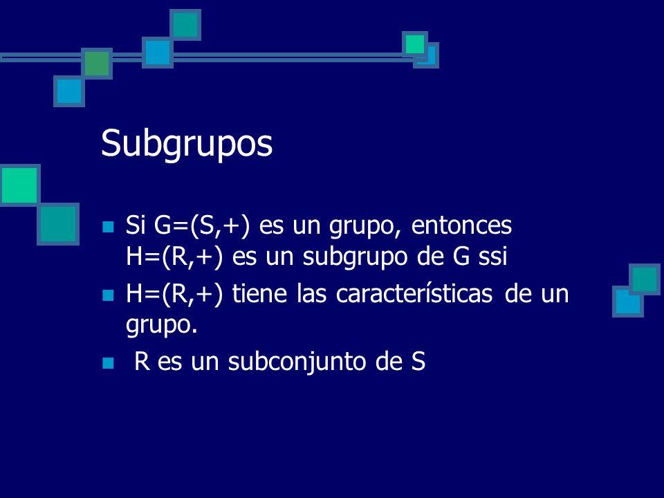 Subgrupos Si G=(S,+) es un grupo, entonces H=(R,+) es un subgrupo de G ssi H=(R,+) tiene las características de un grupo. R es un subconjunto de S