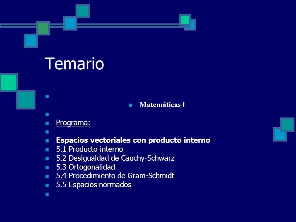 Temario Matemáticas I Programa: Espacios vectoriales con producto interno 5.1 Producto interno 5.2 Desigualdad de Cauchy-Schwarz 5.3 Ortogonalidad 5.4