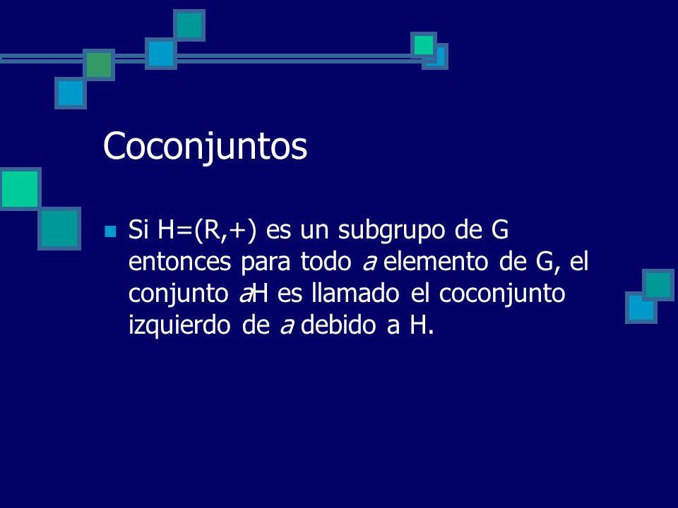 Coconjuntos Si H=(R,+) es un subgrupo de G entonces para todo a elemento de G, el conjunto aH es llamado el coconjunto izquierdo de a debido a H.
