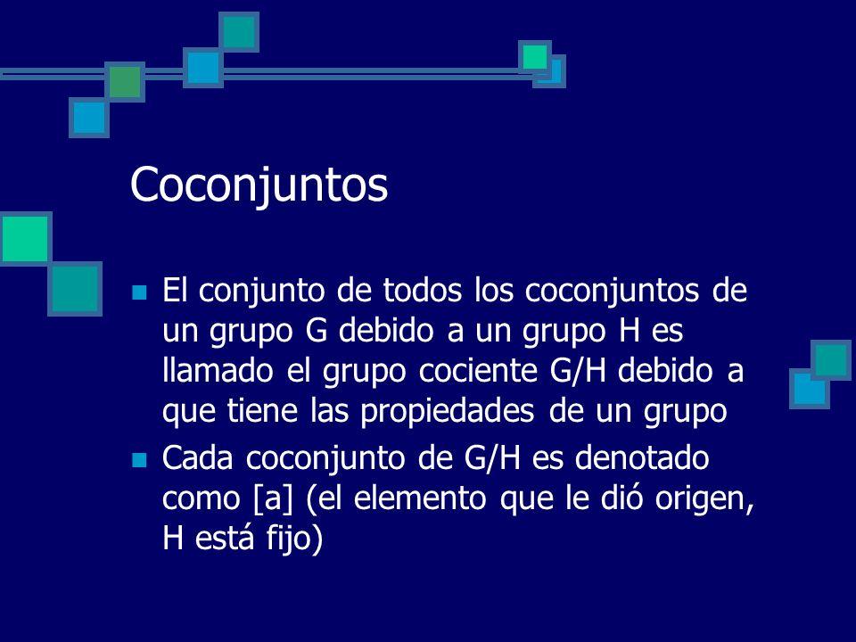 Coconjuntos El conjunto de todos los coconjuntos de un grupo G debido a un grupo H es llamado el grupo cociente G/H debido a que tiene las propiedades