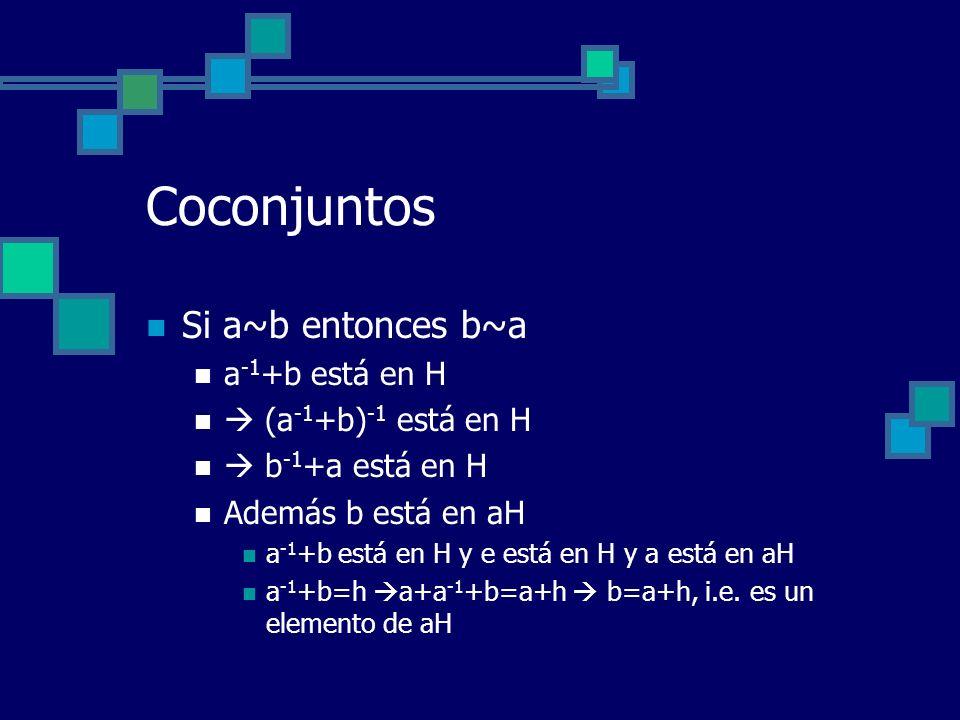 Coconjuntos Si a~b entonces b~a a -1 +b está en H (a -1 +b) -1 está en H b -1 +a está en H Además b está en aH a -1 +b está en H y e está en H y a est