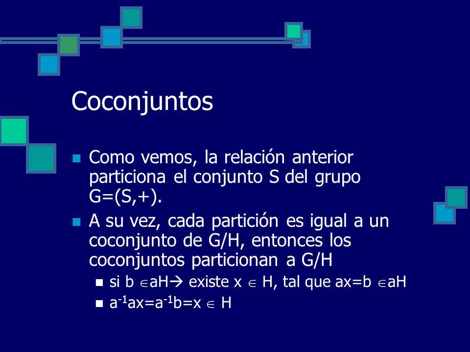 Coconjuntos Como vemos, la relación anterior particiona el conjunto S del grupo G=(S,+). A su vez, cada partición es igual a un coconjunto de G/H, ent