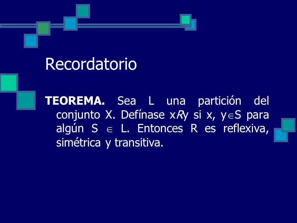 Recordatorio TEOREMA. Sea L una partición del conjunto X. Defínase xRy si x, y S para algún S L. Entonces R es reflexiva, simétrica y transitiva.