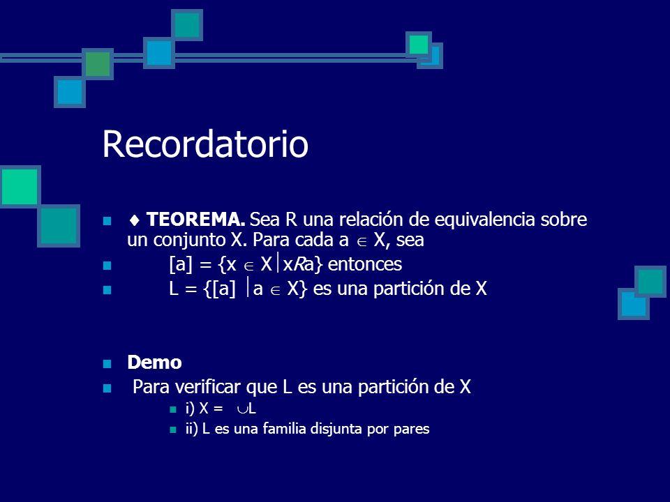 Recordatorio TEOREMA. Sea R una relación de equivalencia sobre un conjunto X. Para cada a X, sea [a] = {x X xRa} entonces L = {[a] a X} es una partici