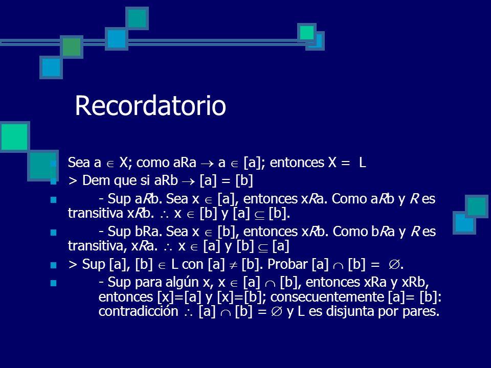 Recordatorio Sea a X; como aRa a [a]; entonces X = L > Dem que si aRb [a] = [b] - Sup aRb. Sea x [a], entonces xRa. Como aRb y R es transitiva xRb. x