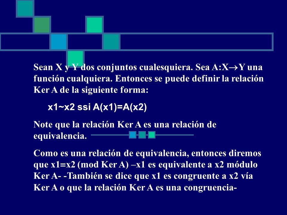 Sean X y Y dos conjuntos cualesquiera. Sea A:X Y una función cualquiera. Entonces se puede definir la relación Ker A de la siguiente forma: x1~x2 ssi