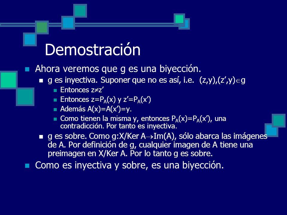 Demostración Ahora veremos que g es una biyección. g es inyectiva. Suponer que no es así, i.e. (z,y),(z,y) g Entonces z z Entonces z=P A (x) y z=P A (