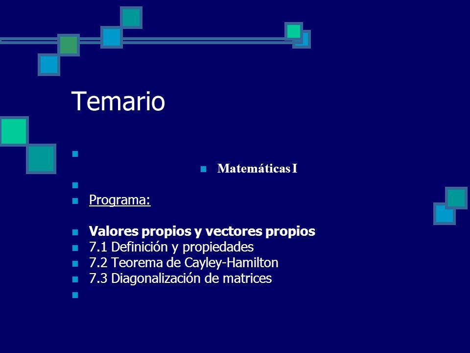 Temario Matemáticas I Programa: Valores propios y vectores propios 7.1 Definición y propiedades 7.2 Teorema de Cayley-Hamilton 7.3 Diagonalización de
