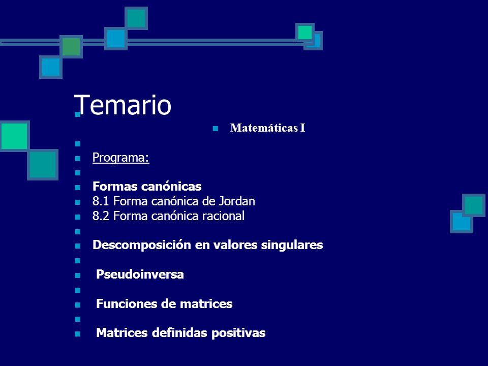 Temario Matemáticas I Programa: Formas canónicas 8.1 Forma canónica de Jordan 8.2 Forma canónica racional Descomposición en valores singulares Pseudoi