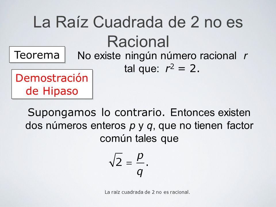 La Raíz Cuadrada de 2 no es Racional Teorema No existe ningún número racional r tal que: r 2 = 2. Demostración de Hipaso Supongamos lo contrario. Ento