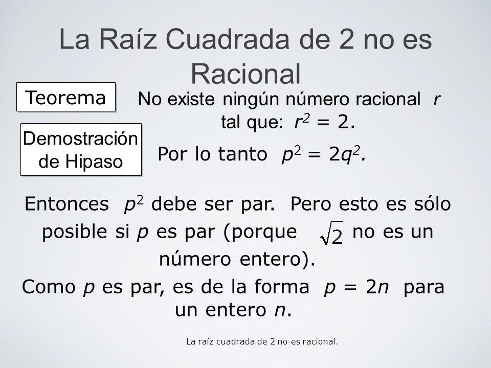 La Raíz Cuadrada de 2 no es Racional Como p es par, es de la forma p = 2n para un entero n. Teorema No existe ningún número racional r tal que: r 2 =
