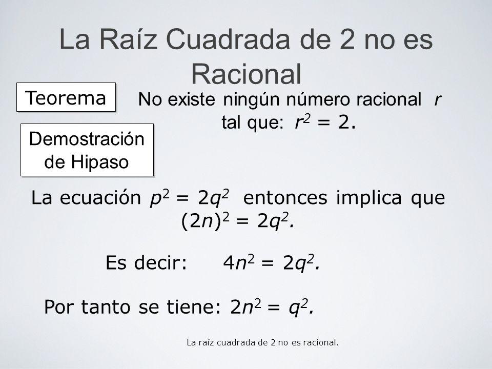 La Raíz Cuadrada de 2 no es Racional Es decir: 4n 2 = 2q 2. La ecuación p 2 = 2q 2 entonces implica que (2n) 2 = 2q 2. Teorema No existe ningún número