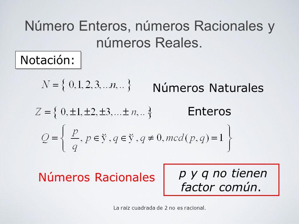 Número Enteros, números Racionales y números Reales. Notación: Enteros Números Naturales Números Racionales p y q no tienen factor común. La raíz cuad