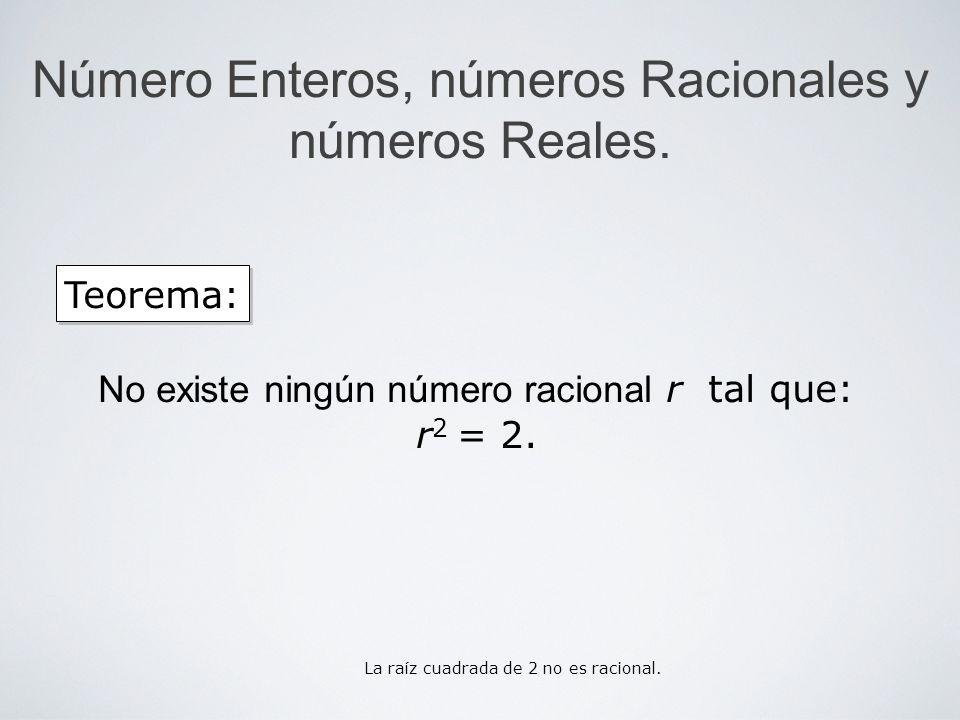 Número Enteros, números Racionales y números Reales. Teorema: No existe ningún número racional r tal que: r 2 = 2. La raíz cuadrada de 2 no es raciona