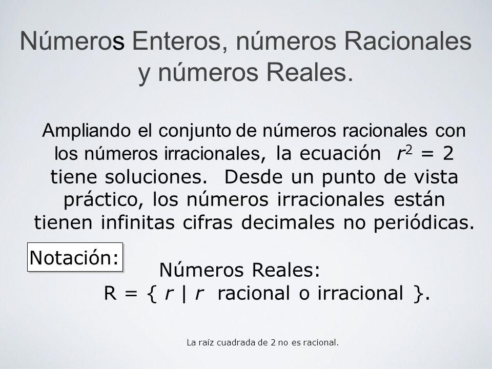 Números Enteros, números Racionales y números Reales. Notación: Ampliando el conjunto de números racionales con los números irracionales, la ecuación