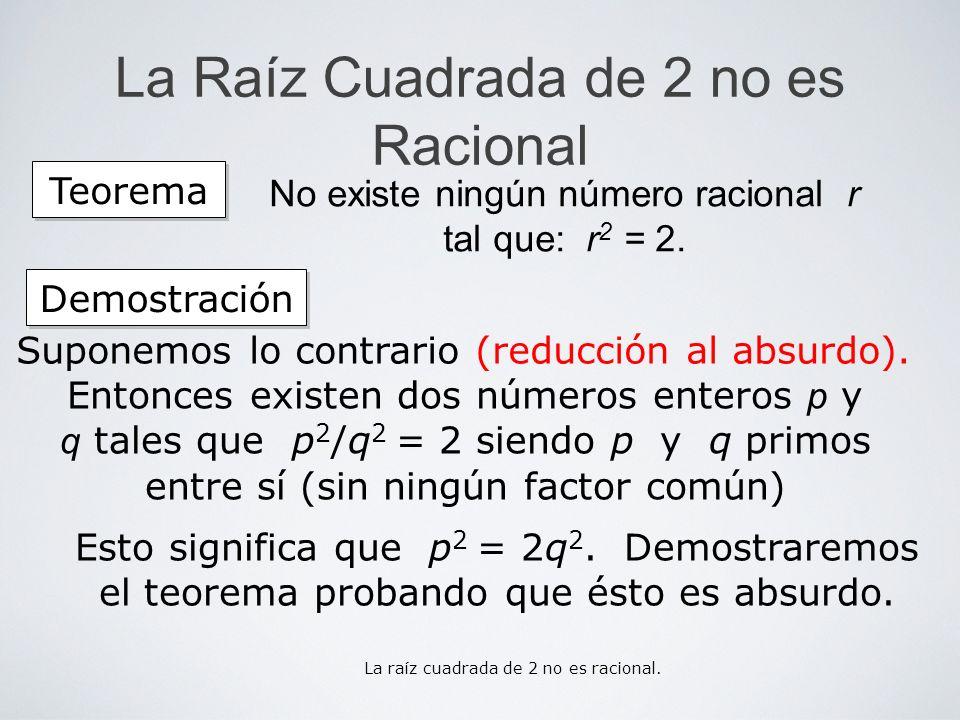 La Raíz Cuadrada de 2 no es Racional Suponemos lo contrario (reducción al absurdo). Esto significa que p 2 = 2q 2. Demostraremos el teorema probando q