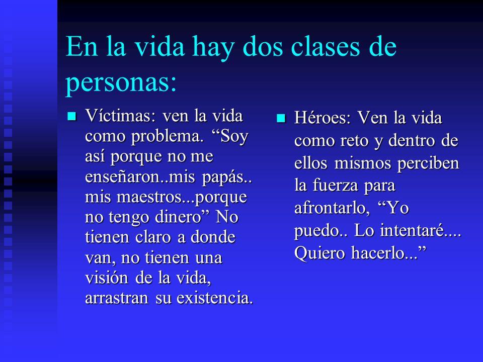 En la vida hay dos clases de personas: Víctimas: ven la vida como problema. Soy así porque no me enseñaron..mis papás.. mis maestros...porque no tengo