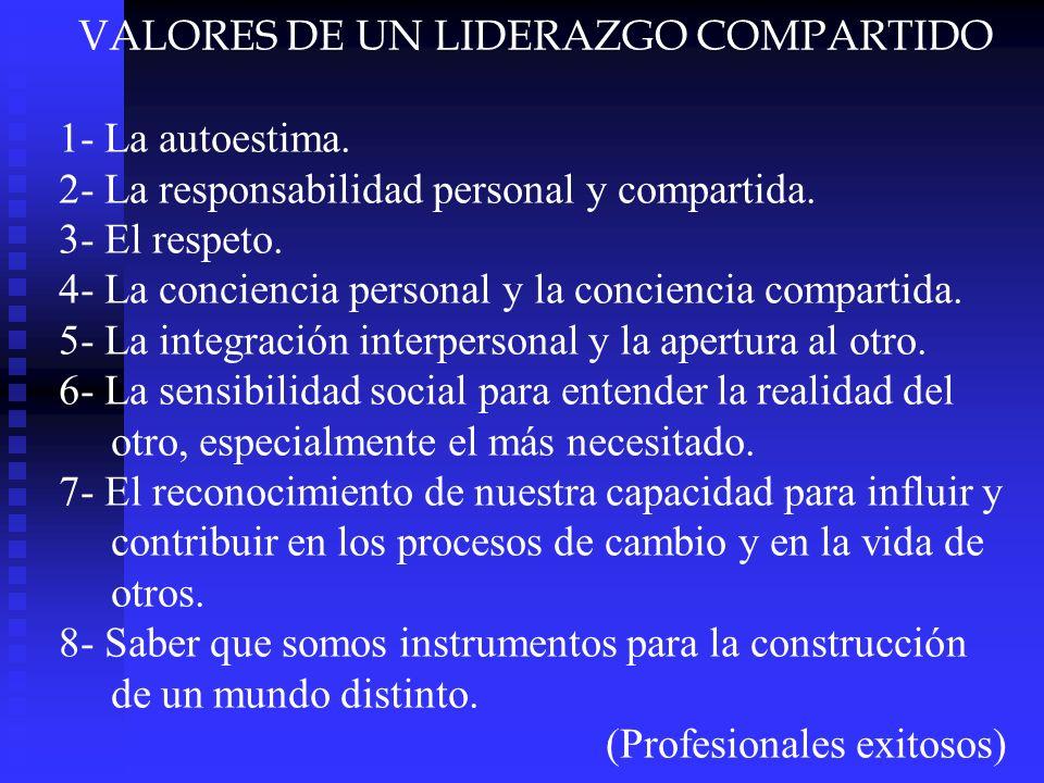 VALORES DE UN LIDERAZGO COMPARTIDO 1- La autoestima. 2- La responsabilidad personal y compartida. 3- El respeto. 4- La conciencia personal y la concie