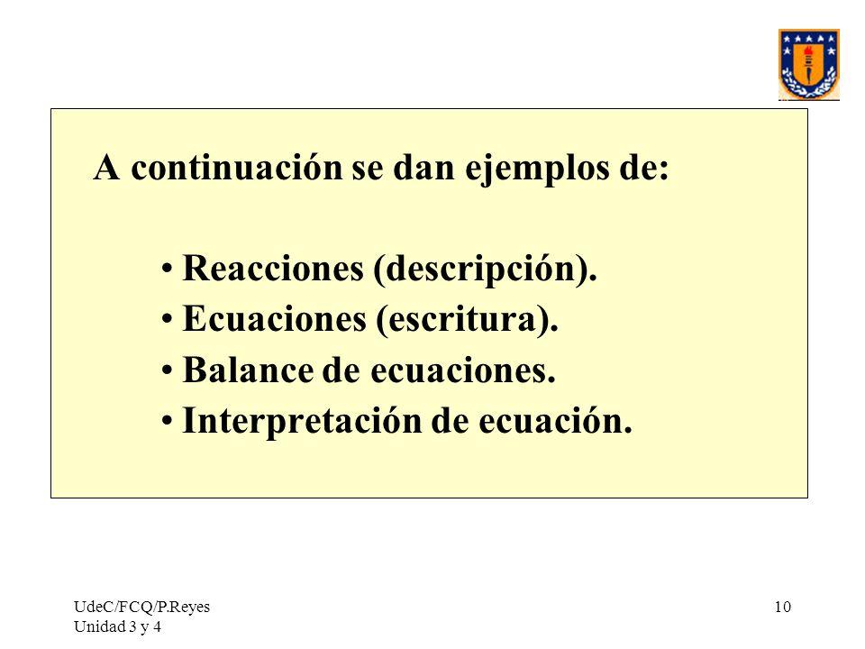 UdeC/FCQ/P.Reyes Unidad 3 y 4 10 A continuación se dan ejemplos de: Reacciones (descripción). Ecuaciones (escritura). Balance de ecuaciones. Interpret
