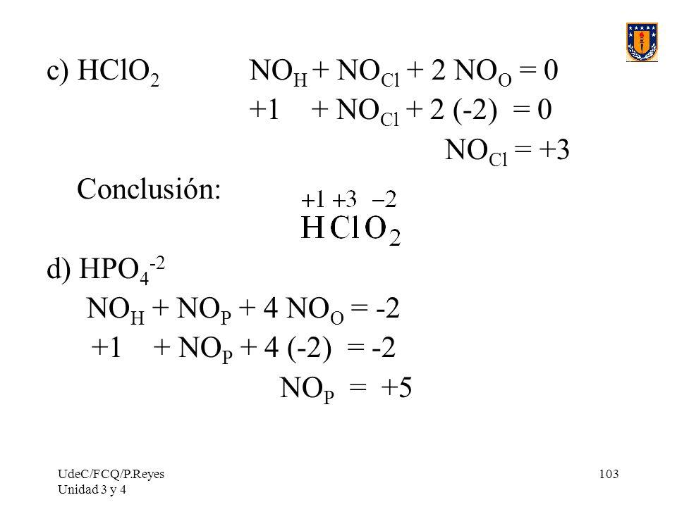UdeC/FCQ/P.Reyes Unidad 3 y 4 103 c) HClO 2 NO H + NO Cl + 2 NO O = 0 +1 + NO Cl + 2 (-2) = 0 NO Cl = +3 Conclusión: d) HPO 4 -2 NO H + NO P + 4 NO O